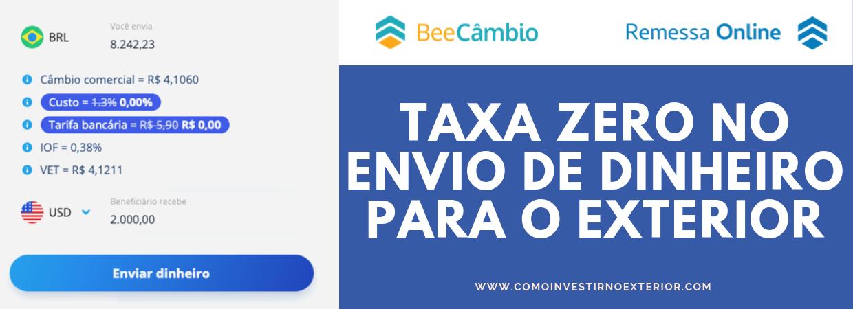 taxa zero remessa online